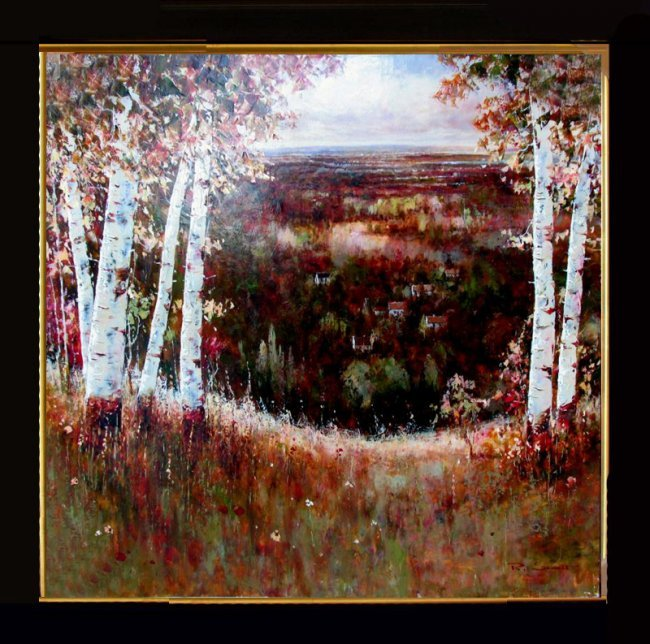 Abstract acrylic textured painting colorful landscape for Textured acrylic abstract paintings