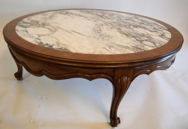 200 Large Round Walnut Coffee Table With Marble Insert