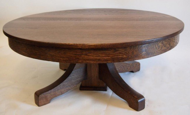 157 42 round oak coffee table lot 157