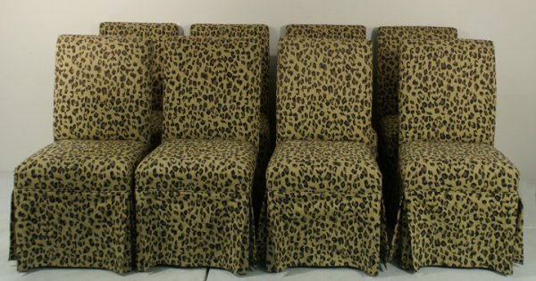 681 8 leopard print upholstered dining chairs lot 681 for Printed upholstered dining chairs