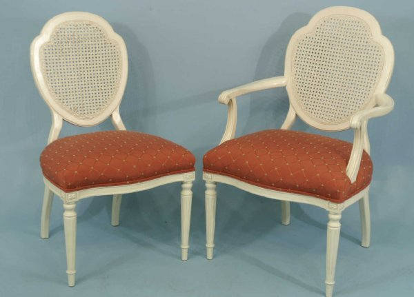 1045 4 Painted Cane Back Chairs Lot 1045