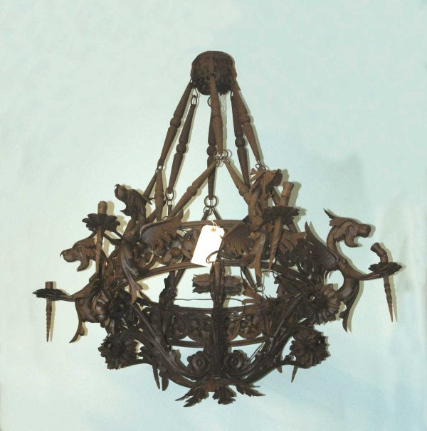 30 BLACK IRON CHANDELIER WITH DRAGON FIGURE DESIGN Lot 30