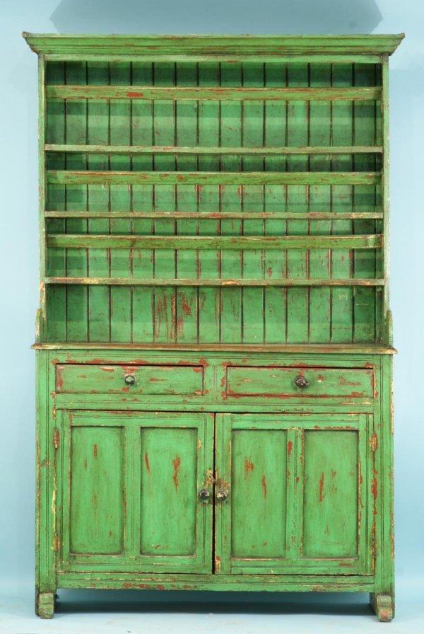26 Antique Green Irish Dresser Circa 1840 39 S Lot 26