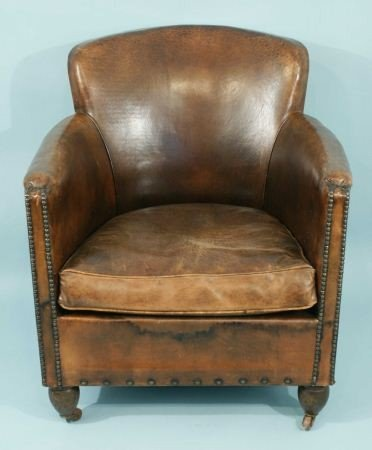 Distressed leather club chair reanimators