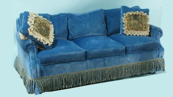 29 Blue Velvet Sofa Sleeper With Two Antique Pillows Lot 29