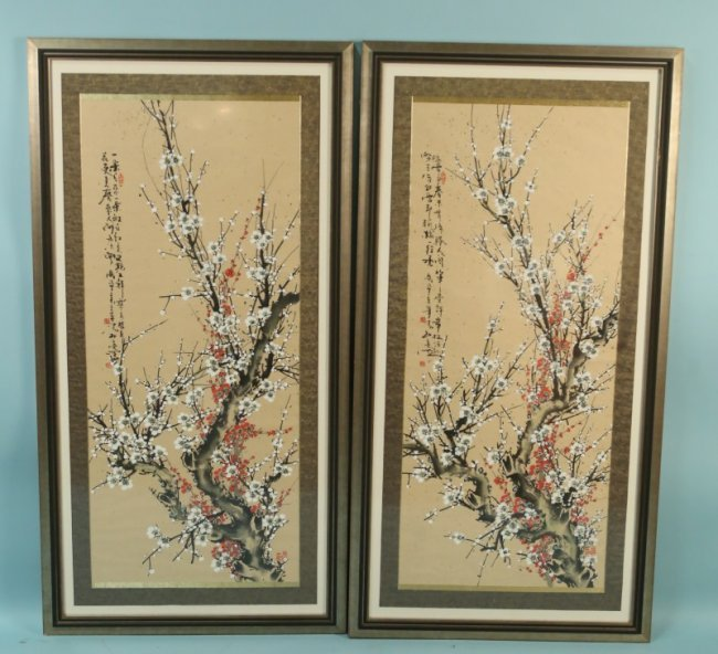 pair of chinese paintings on silk lot 146