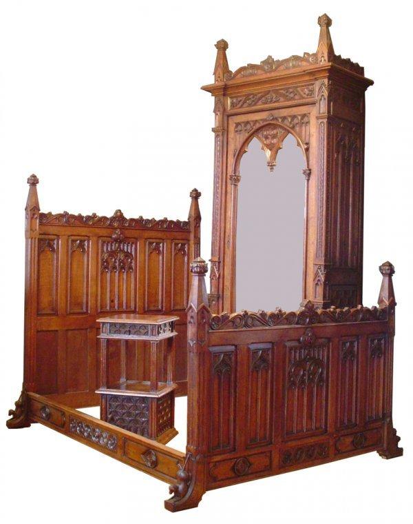 735 antique victorian 3pc oak gothic bedroom set 2776 lot 735