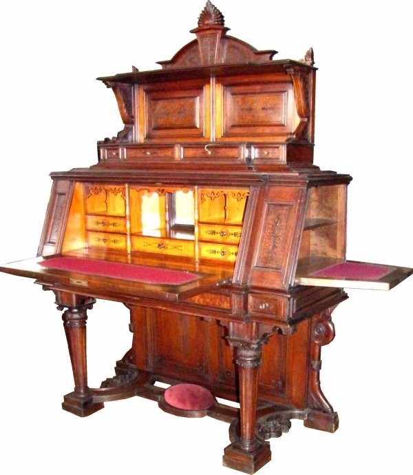 470 rare renaissance desk w hidden compartment 3905 lot 470 for Furniture w hidden compartments