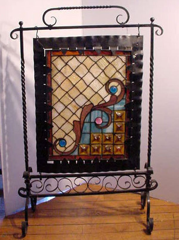 Stained And Leaded Glass Fire Screen In Iron 30322 Lot 94