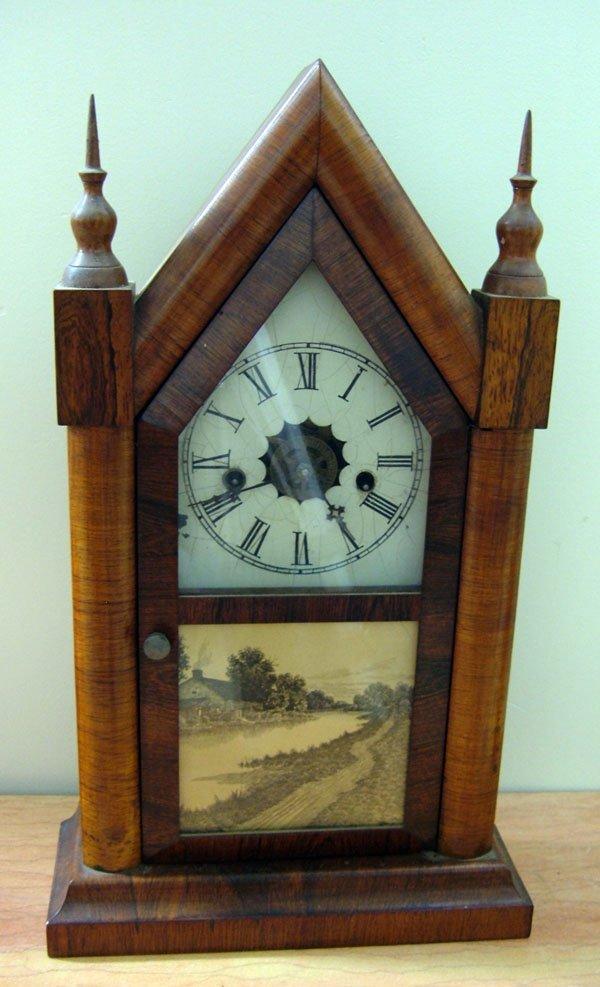 Waterbury 8 Day Steeple Clock Metal Painted Face