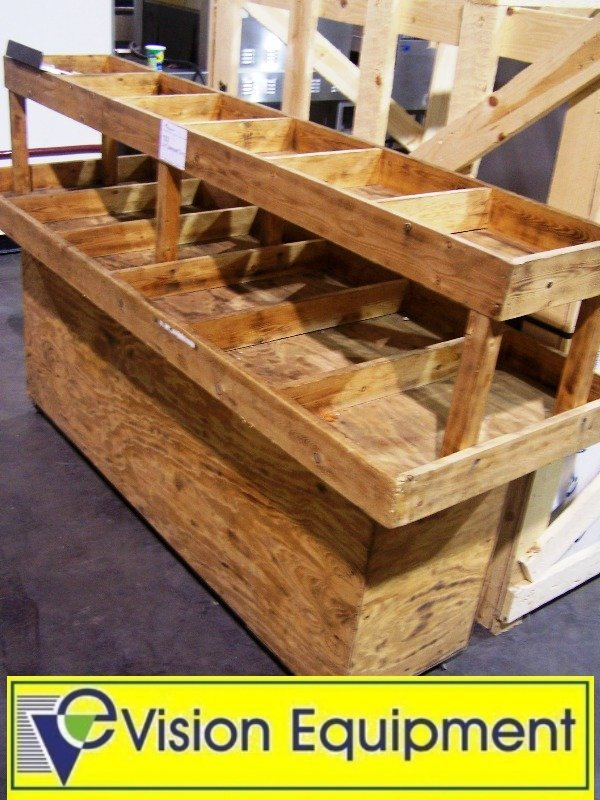 Used Display Tables ~ Used wooden produce display table on casters lot