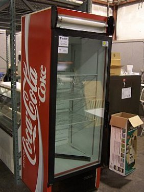 323 Coke Single 1 Glass Door Refrigerator Cooler Lot 323