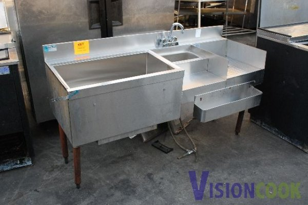 Commercial Bar Sink Faucet : 1524: Commercial Bar Sink w/ Ice Bin and Speed Rail : Lot 1524