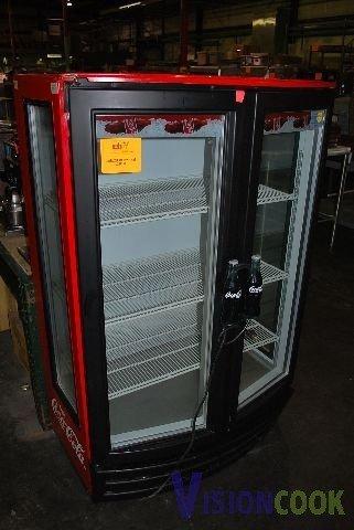 582 bev air coke cooler 2 glass door mm14ge lot 582 for 1 door retro coke cooler
