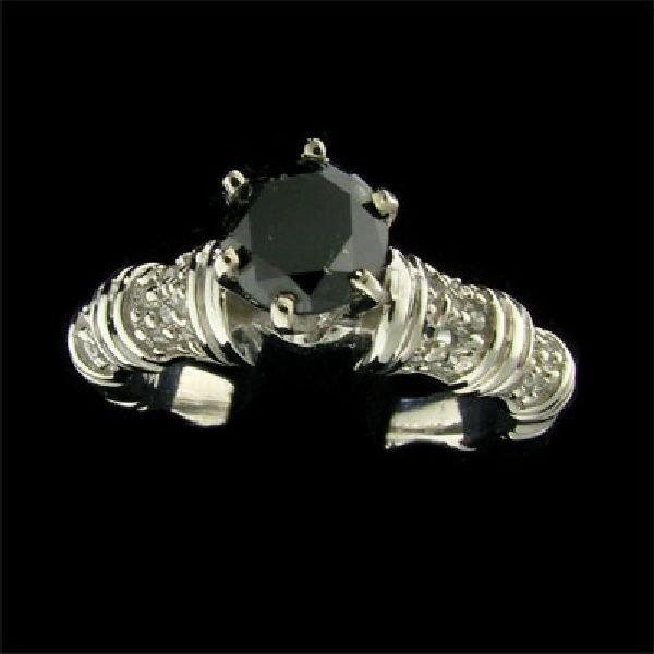 App 3 1k 14 Kt White Gold 0 98ct Black Diamond Ring