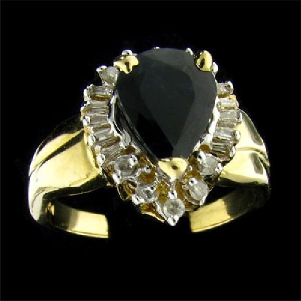 APP 2 2k 14 kt Gold 2 08CT Sapphire & Diamond Ring Lot 927