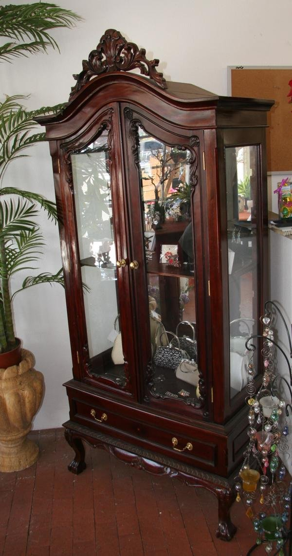 mahogany chippendale antique style china cabinet lot 1701