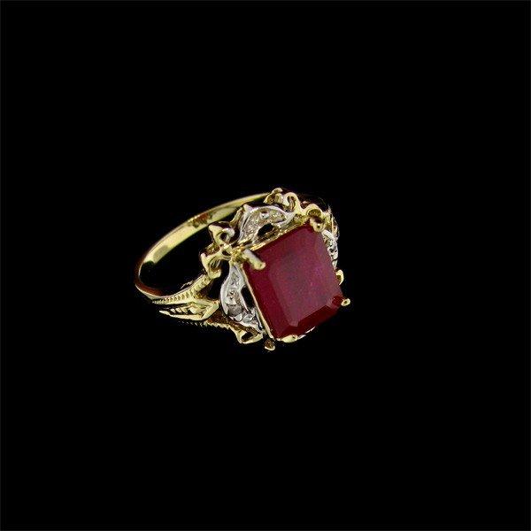 APP 6 1k 14 kt Gold 3 43CT Ruby & Diamond Ring Lot 633