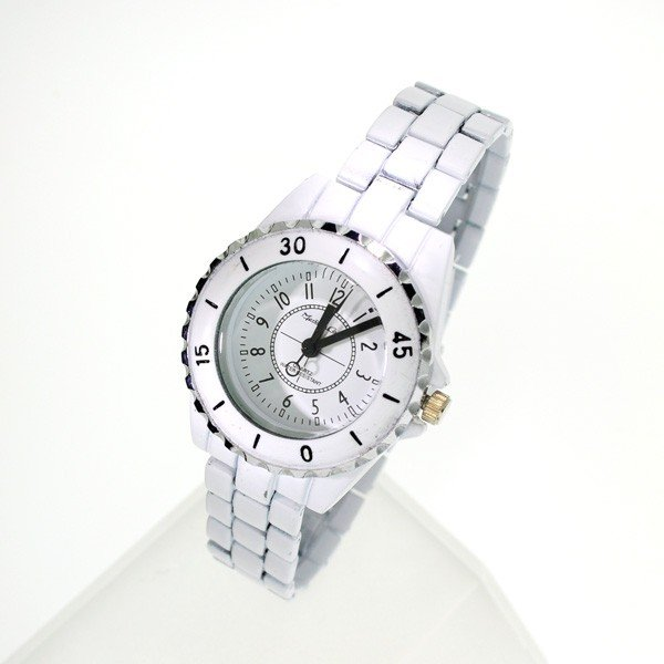 Montres Carlos Womens White Metal Case And Leather Strap Watch 3112D-7