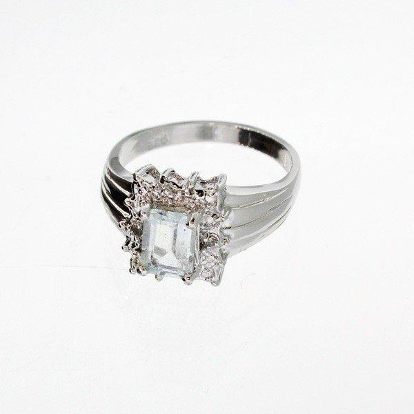 App 1k Aquamarine W Diamonds Amp Sterl Silver Ring Lot 881