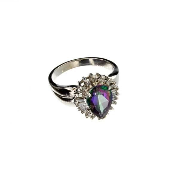 APP 2k 14kt White Gold Mystic Topaz & Diamond Ring Lot 1511
