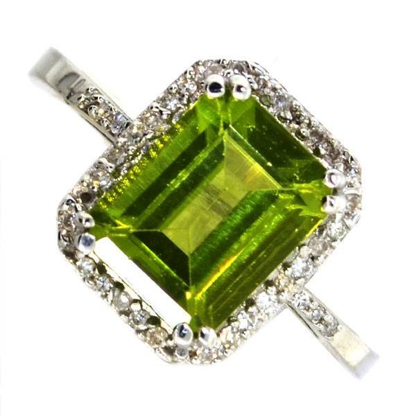 APP 2k 1CT Oval Cut Peridot & Diamond Over Silver Ring Lot 105