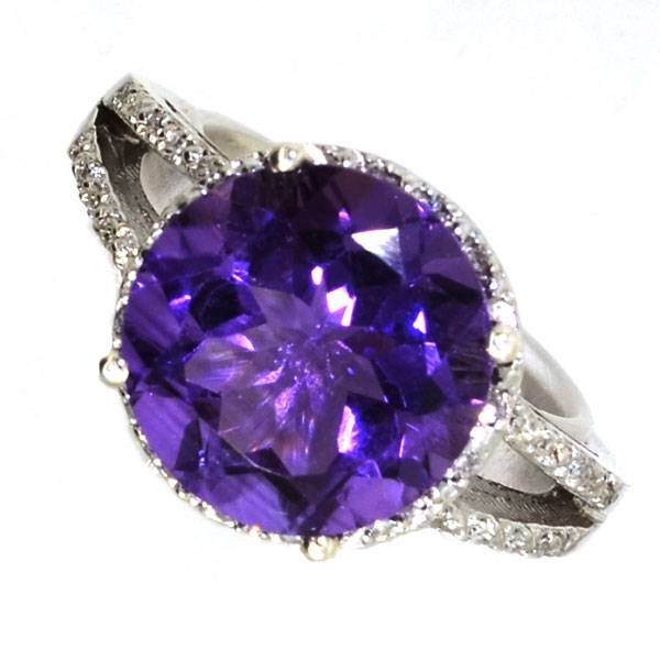 APP 2k 4CT Round Amethyst & Diamond Over Silver Ring Lot 279