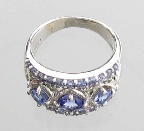 APP 3k 0CT Tanzanite & Diamond Sterl Silver Ring Lot 79