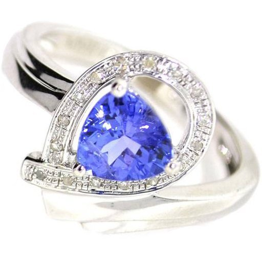 APP 2k 1CT Tanzanite & Diamond Sterl Silver Ring Lot 183