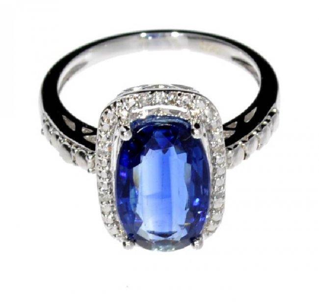 App 1k 3ct Kyanite Amp Diamond Plat Sterl Silver Ring Lot 425