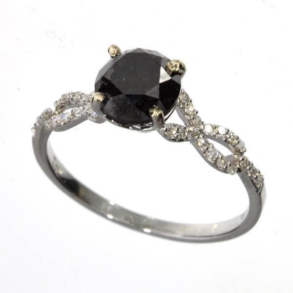 APP 3k 18 kt White Gold 1CT Round Black Diamond Ring Lot 145