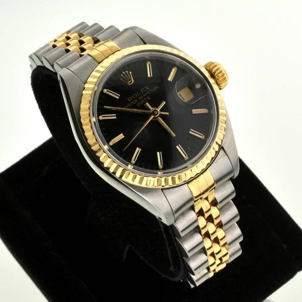 Rolex Ladies Oyster Perpetual Black Face Watch : Lot 1227