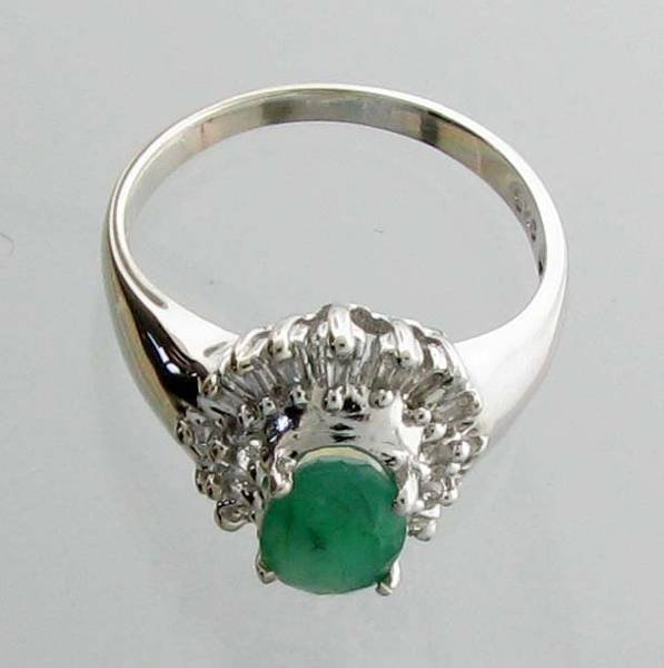 APP 3k 1CT Emerald & Diamond Sterl Silver Ring Lot 143