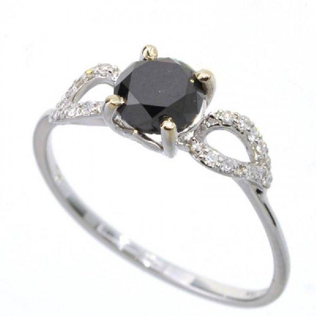 APP 2k 18 kt White Gold Round Black Diamond Ring Lot 845