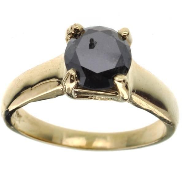 APP 5k 14 kt Gold 1CT Round Cut Black Diamond Ring Lot 637A