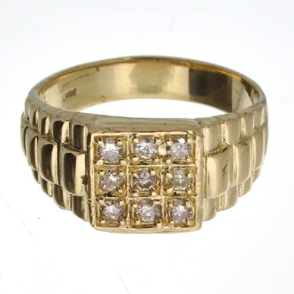 APP 2k 14 kt Gold Round Diamond Rolex Style Ring Lot 431