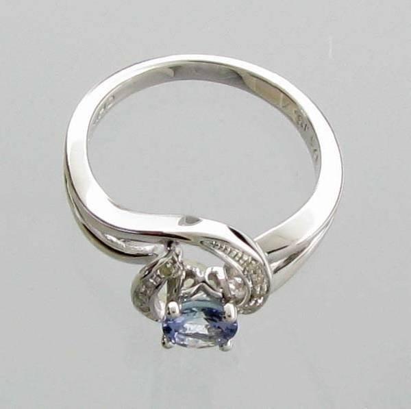 App 1k Ct Tanzanite Amp Diamond Plat Sterl Silver Ring