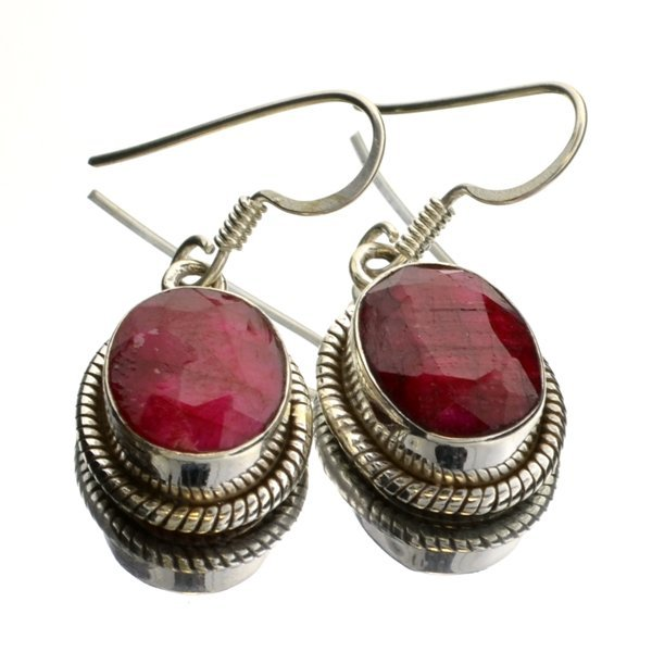 APP 1k 6 07CT Oval Cut Ruby & Sterling Silver Earrings Lot 77