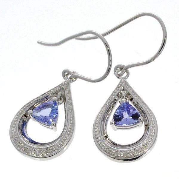APP 1k 1CT Tanzanite & Diamond Sterl Silver Earrings Lot 461
