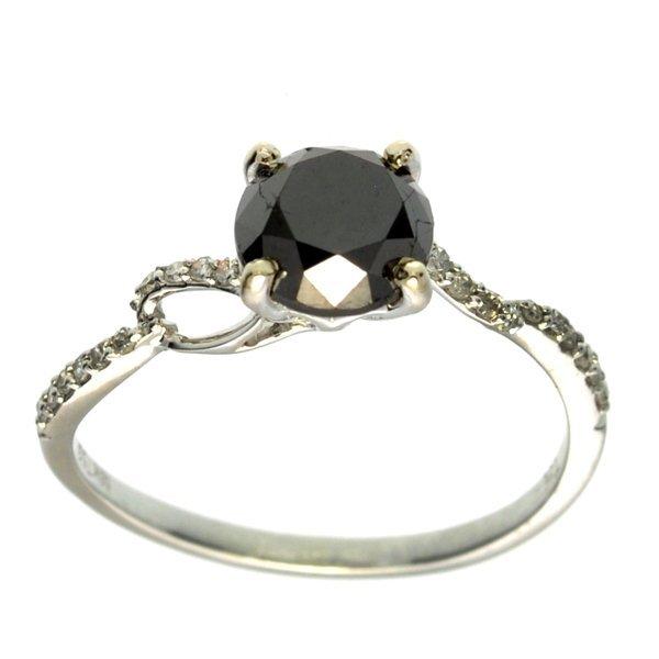 APP 3k 18kt Wt Gld 1CT Black Diamond & Diamond Ring Lot 447