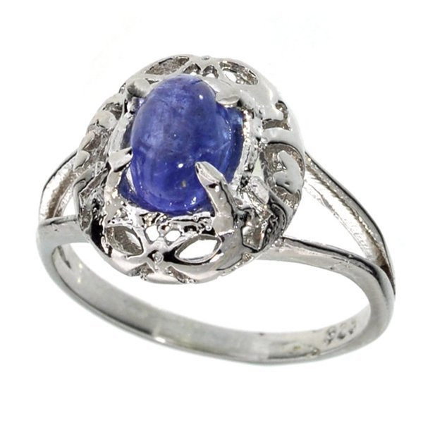 APP 2k 1CT Oval Cut Cabochon Tanzanite & Silver Ring Lot 893