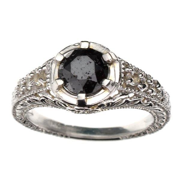 APP 3k 14kt White Gold 1CT Black Diamond & Topaz Ring Lot 3340