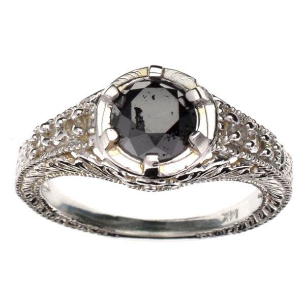 APP 3k 14kt White Gold 1CT Round Black Diamond Ring Lot 3710