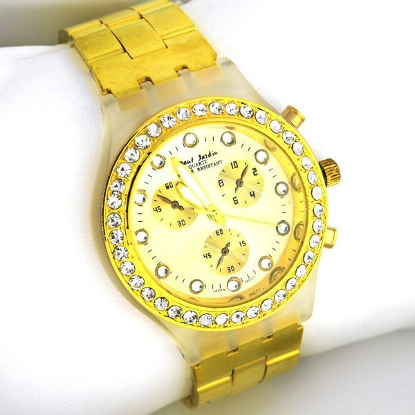 Paul jardin quartz gold diamond men 39 s watch lot 195 for Paul jardin quartz watch
