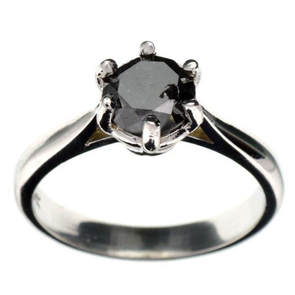 APP 3k 14kt White Gold 1CT Round Black Diamond Ring Lot 2750