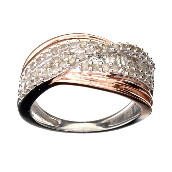 APP 2k 0CT Diamond & White Rose Sterl Silver Ring Lot 1073