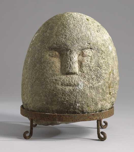 Circa bc iron age carved stone head lot