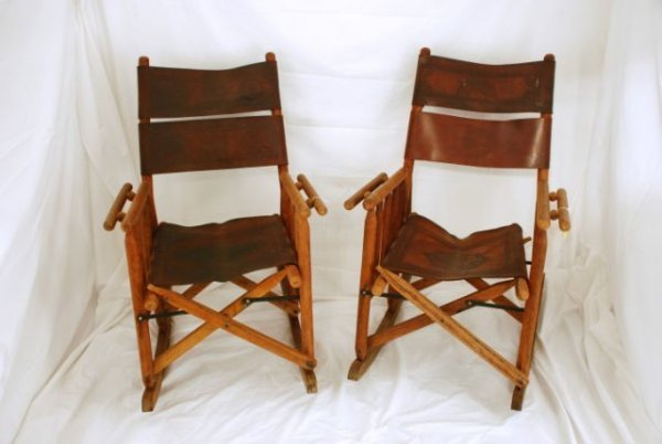 646 Pair Leather Folding Rocking Chairs Amp Foot Stool