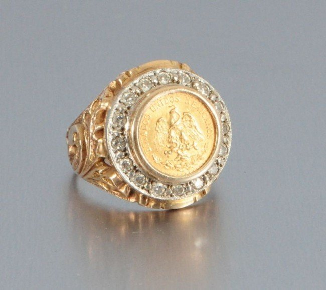 gold mexican peso ring lot 453