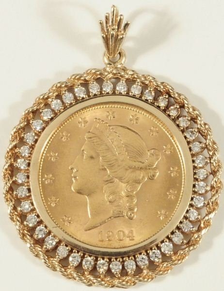382 1904 20 liberty gold coin pendant lot 382